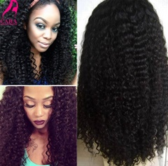 100% Virgin Human Hair 22inch Curly Full Lace Wig Free Shipping