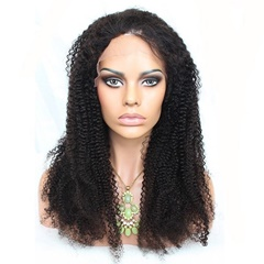 Virgin 8A Peruvian Human Hair Glueless Kinky Curl Full Lace Wigs With Baby Hair For Black Women