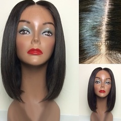 100 vigin Brazilian human hair 14 inch short bob lace front wig
