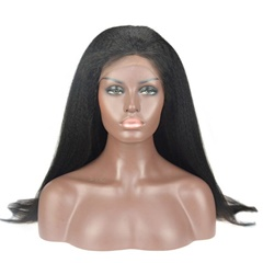 Full Lace Human Hair Kinky Straight Brazilian Virgin Hair Wigs For Black Women