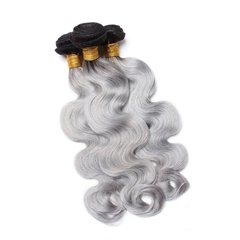 Grade 9A Brazilian Human Hair #1b/grey Body Wave Hair Bundle
