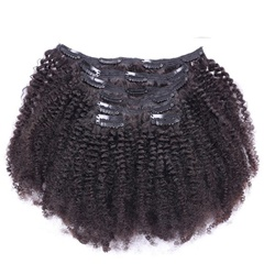 China hot selling and fashional style kinky curl clip in indian hair extensions