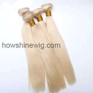 Blond color hair weft