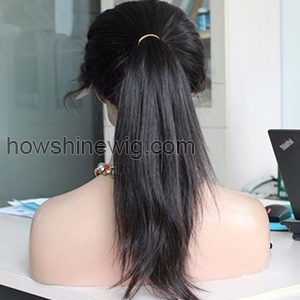 High ponytail with baby hair