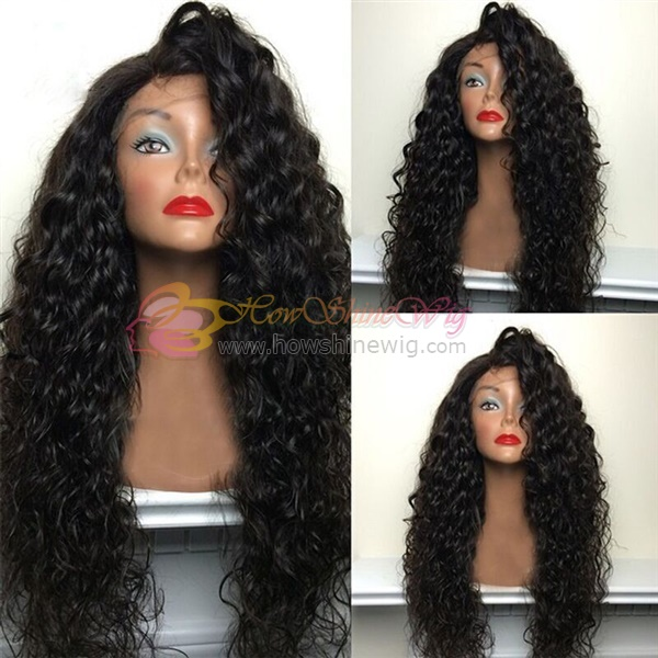 Black Women Full Lace Human Hair Wigs Virgin Brazilian Water Wave Full Lace Wig With Baby Hair Bleached Knots