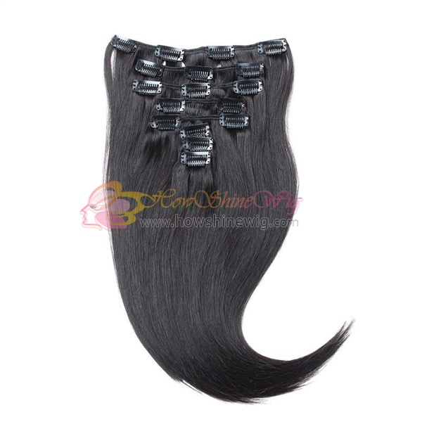 Silky straight real human hair clip in extensions