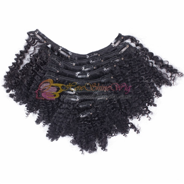 China hot selling and fashional style kinky curl clip in brazilian hair extensions