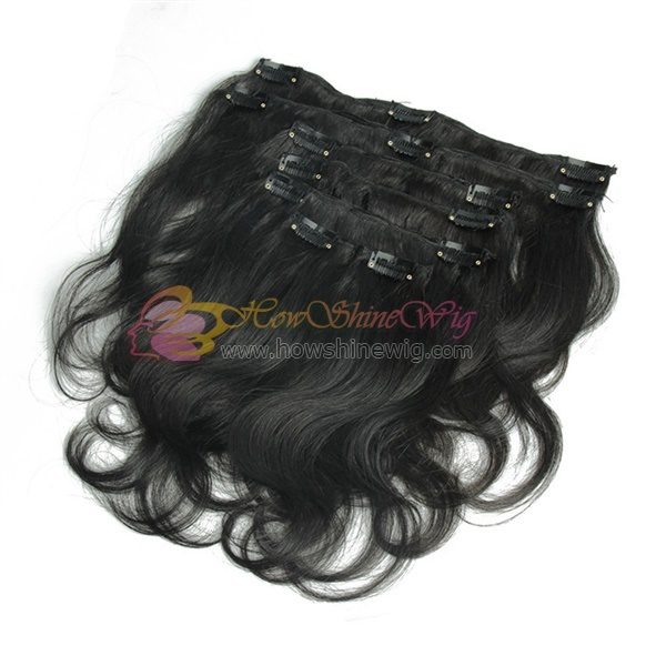 Virgin hair clip in hair extensions kinky curl hair natural black