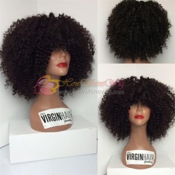 24 Hours Online Service Wholesale High Quality Natural Color Kinky Curl Full Lace Human Hair wig